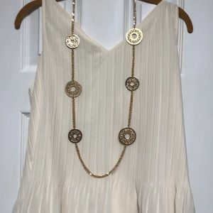Chico's gold tone medallion long necklace